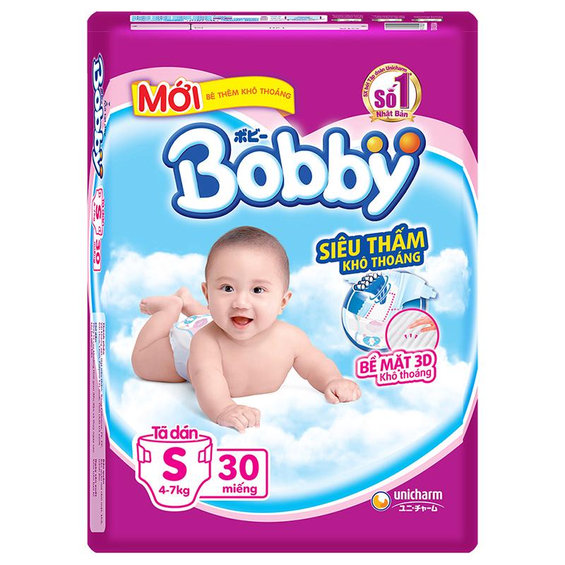Bỉm - Tã dán Bobby Siêu thấm - Khô thoáng size S - 30 miếng (Cho trẻ 4 - 7kg)
