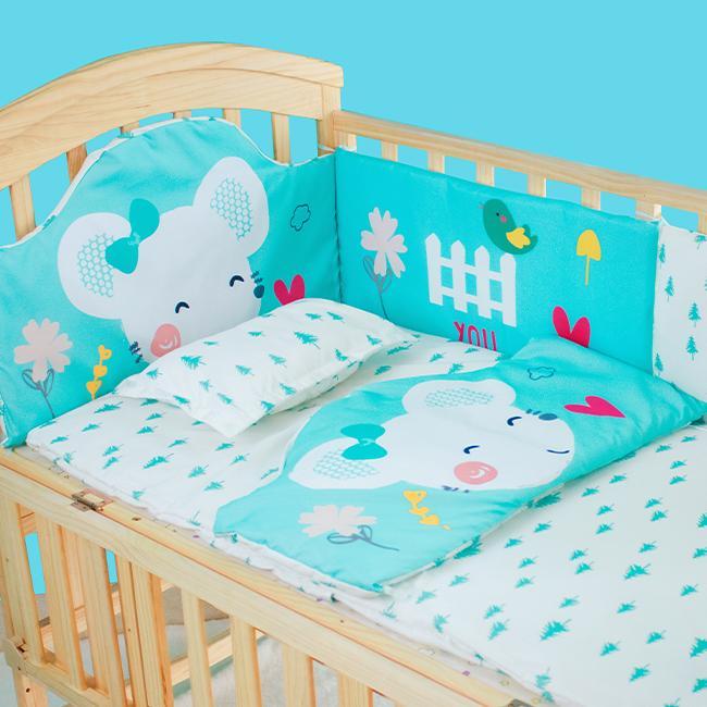 Bộ quây đệm Cotton lót nôi cũi cho bé Chilux - Quây chuột xanh