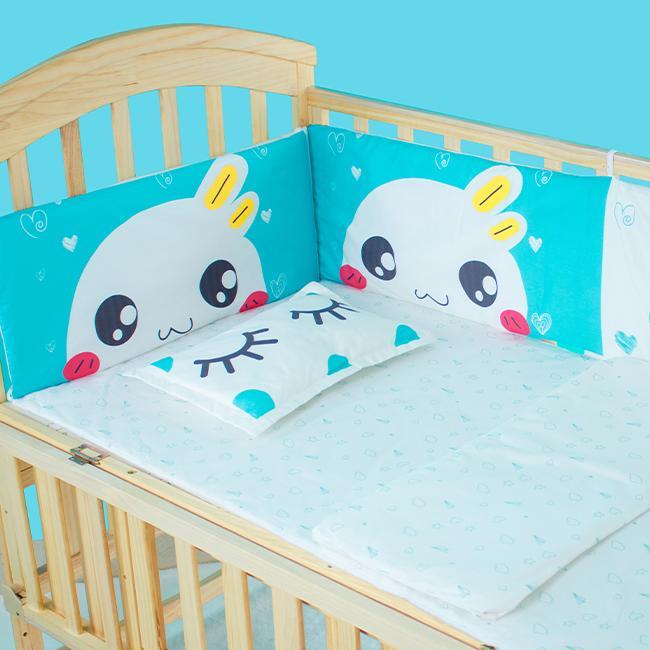 Bộ quây đệm Cotton lót nôi cũi cho bé Chilux - Quây mắt xanh