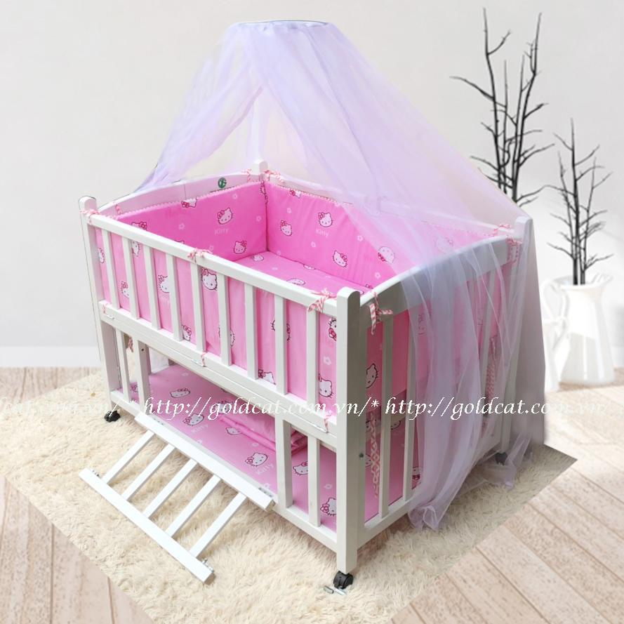 Combo cũi giường 2 giát GoldCat (Hồng kitty, Sơn Trắng)