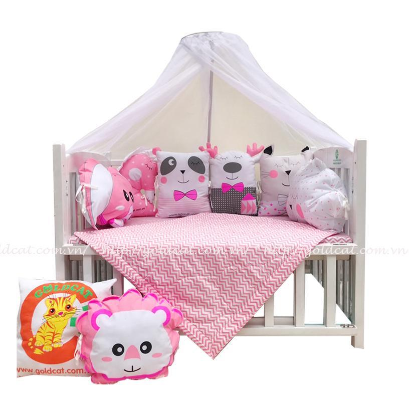 Combo cũi giường Gối Quây Thú (Hồng, Không bánh xe)