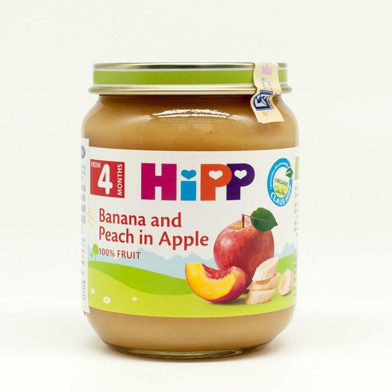 Dinh dưỡng đóng lọ HiPP chuối, đào, táo (Trên 4 tháng) AL4283-01