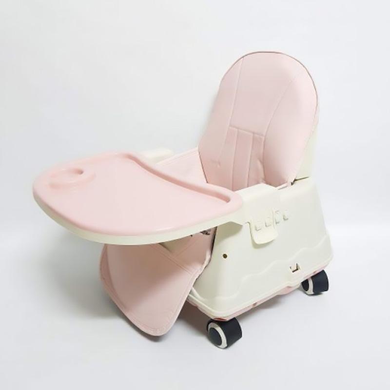 Ghế ăn dặm Hanbei có bánh xe màu hồng