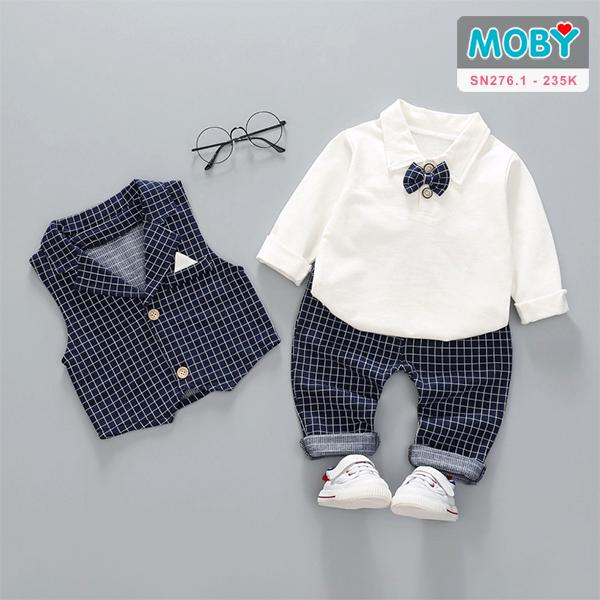 SN276.1 - Set áo ghi lê, áo thun, nơ & quần bé trai