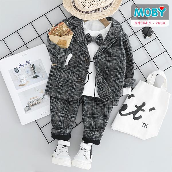 SN364.1 - Set áo vest nỉ dày, áo thun, nơ & quần nỉ dày cho bé