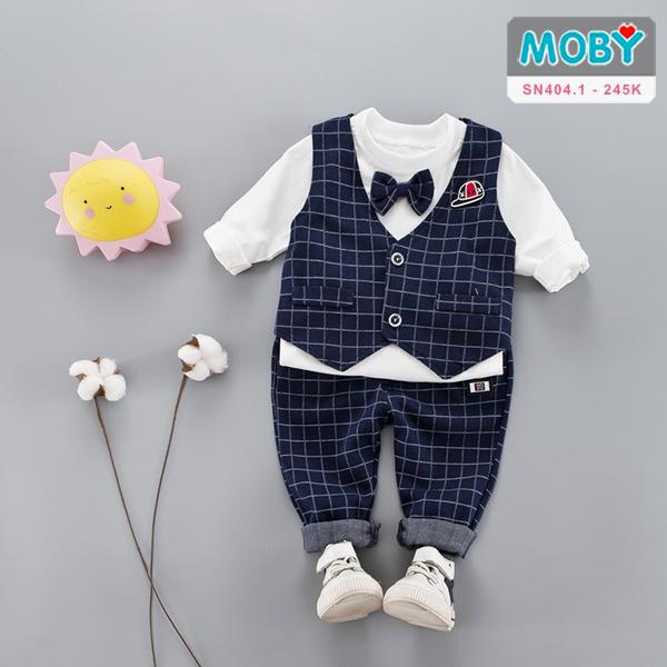 SN404.1 - Sét áo ghi lê, áo thun kèm nơ & quần cho bé