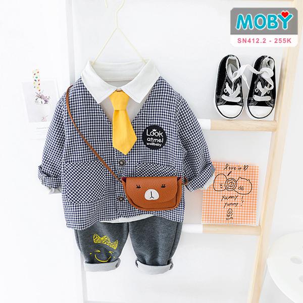 SN412.2 - Set áo khoác, áo sơ mi, nơ & quần cho bé