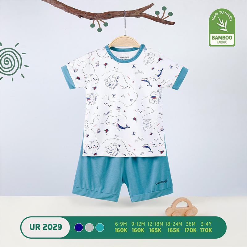 UR2029.1 - Bộ quần áo Uala Rogo cộc tay cài vai vải sợi tre - Màu xanh dương