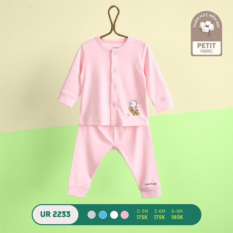 UR2233.1 - Bộ quần áo Uala Rogo dài tay cài giữa vải petit - Màu hồng