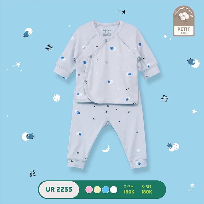 UR2235.4 - Bộ quần áo Uala Rogo dài tay cài chéo vải petit - Màu xám