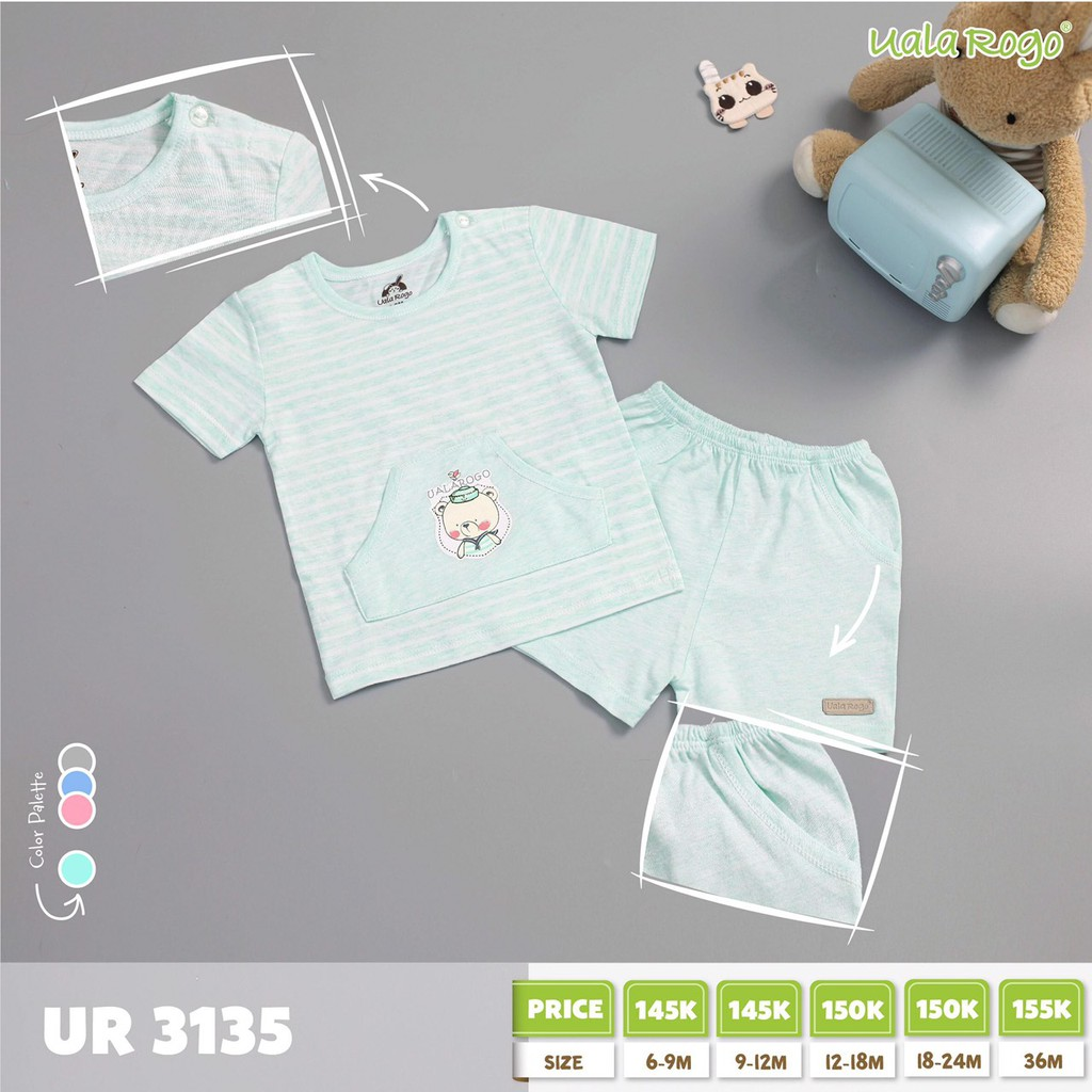 UR3135.1 - Bộ tay ngắn có túi cài nút vai cho bé - Màu xanh lá