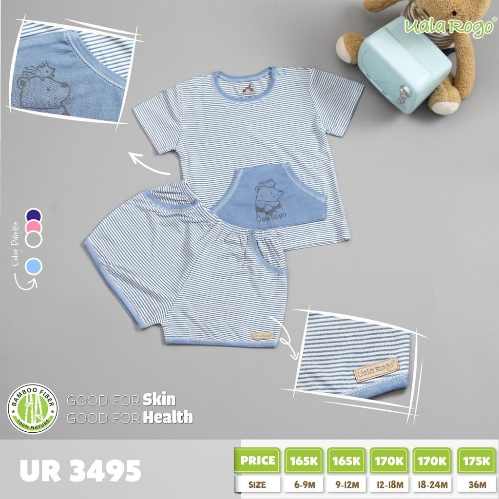 UR3495.2 - Bộ tay ngắn có túi cài nút vai cho bé - Màu xanh dương