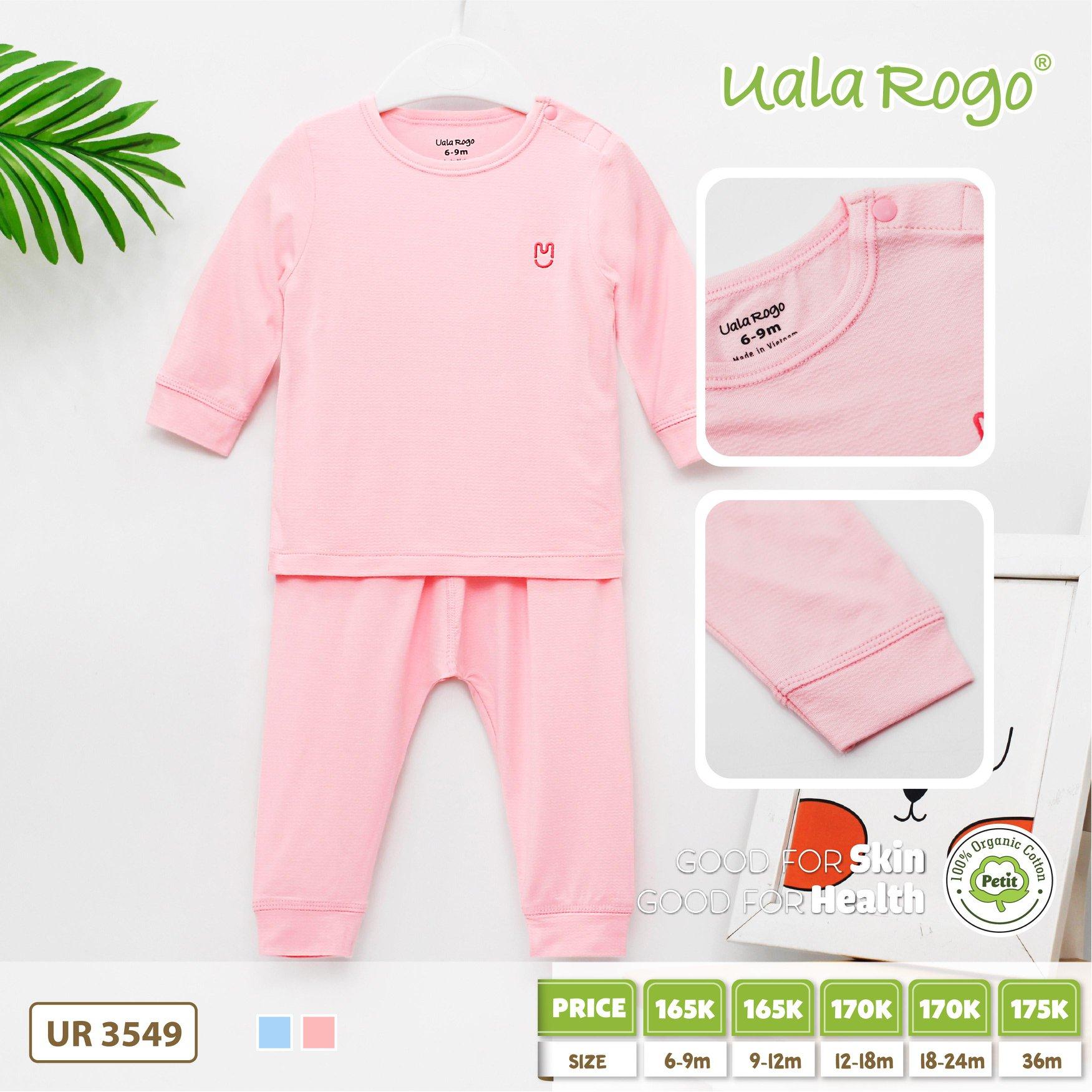UR3549.2- Set đồ dài cài vài cho bé Uala Rogo - Hồng