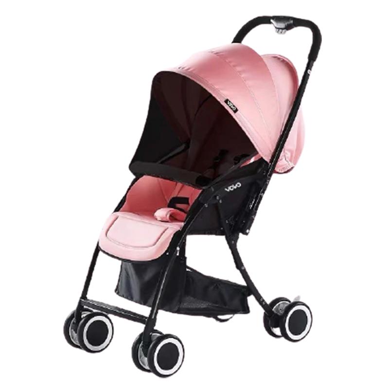 Xe đẩy em bé 2 chiều gấp gọn Vovo màu hồng