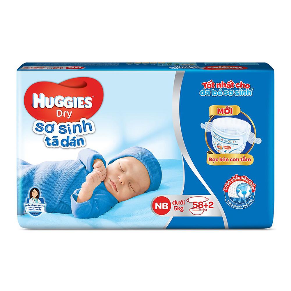 Bỉm - Tã dán sơ sinh Huggies size NB - 58+2 miếng (Cho trẻ dưới 5kg)