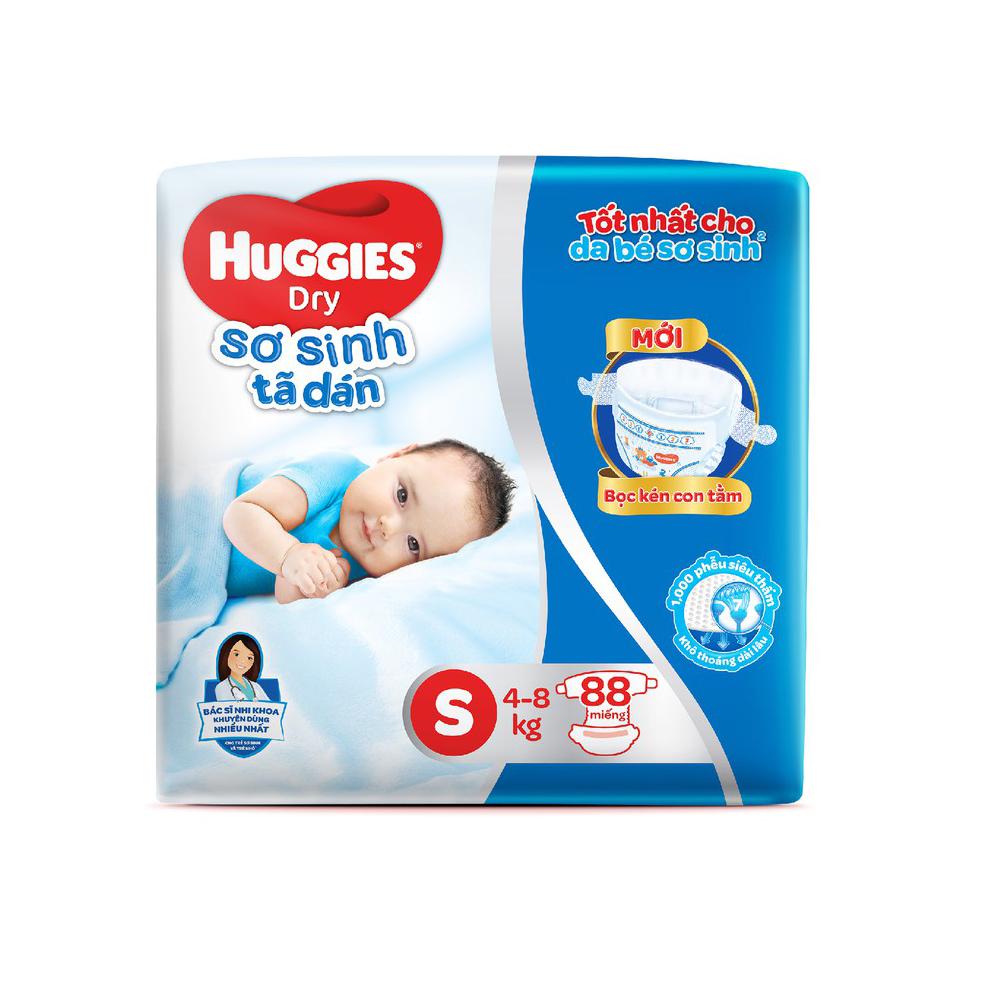 Bỉm - Tã dán sơ sinh Huggies size S - 88 miếng (Cho trẻ 4 - 8kg)