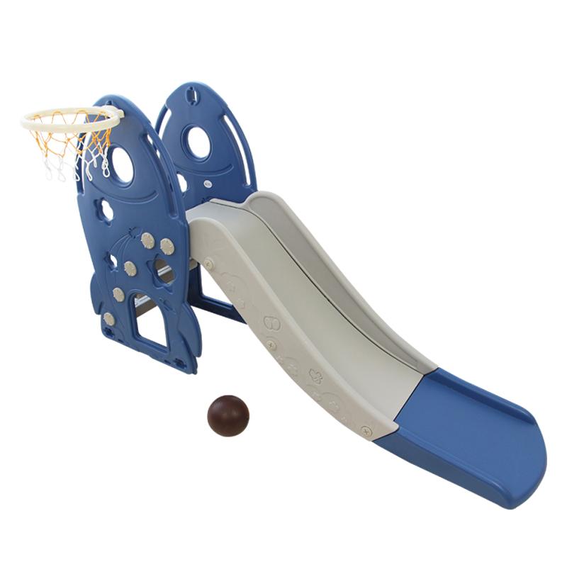 Cầu trượt cho bé Toyshouse hình tên lửa, có kèm khung bóng rổ HJ05  - Màu xanh dương