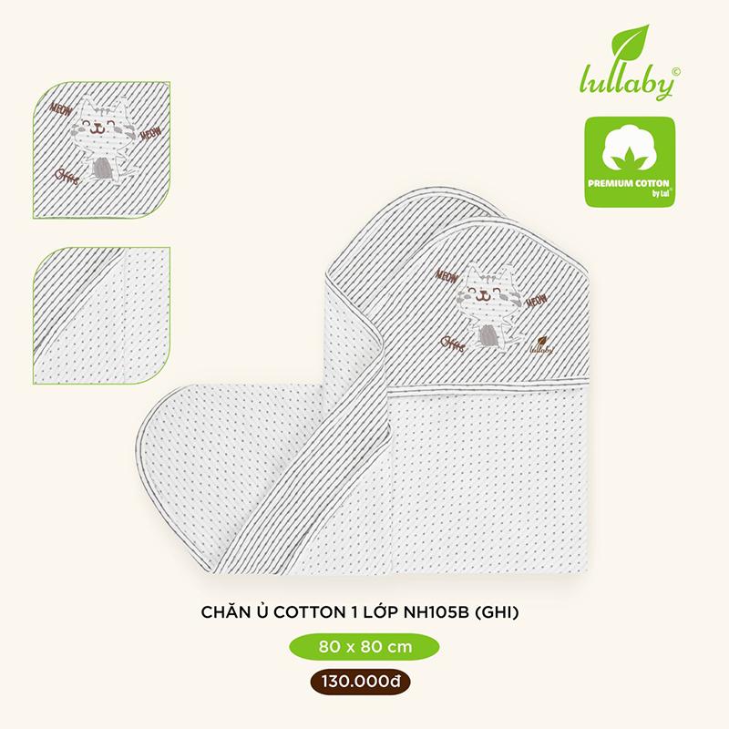 Chăn ủ cotton 1 lớp Lullaby 80x80 cm NH105B - Xám