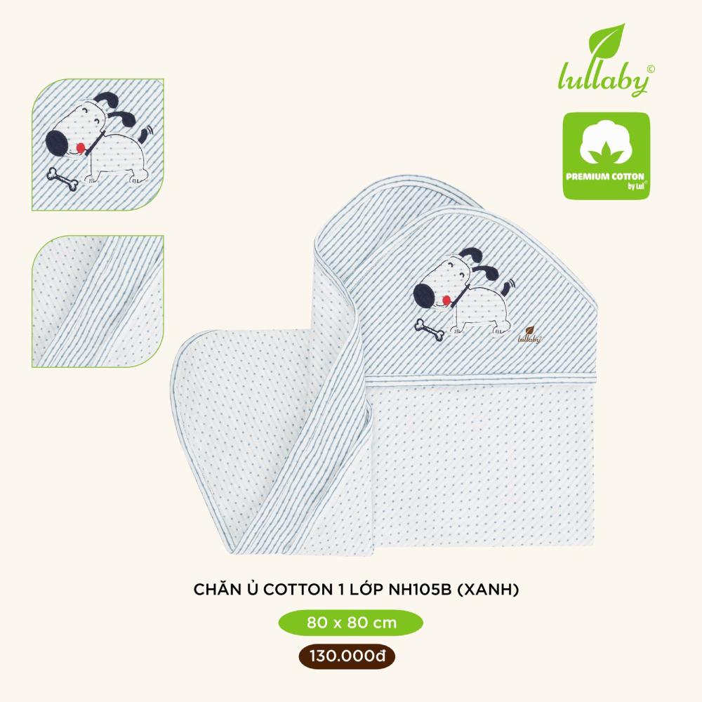 Chăn ủ cotton 1 lớp Lullaby 80x80 cm NH105B - Xanh