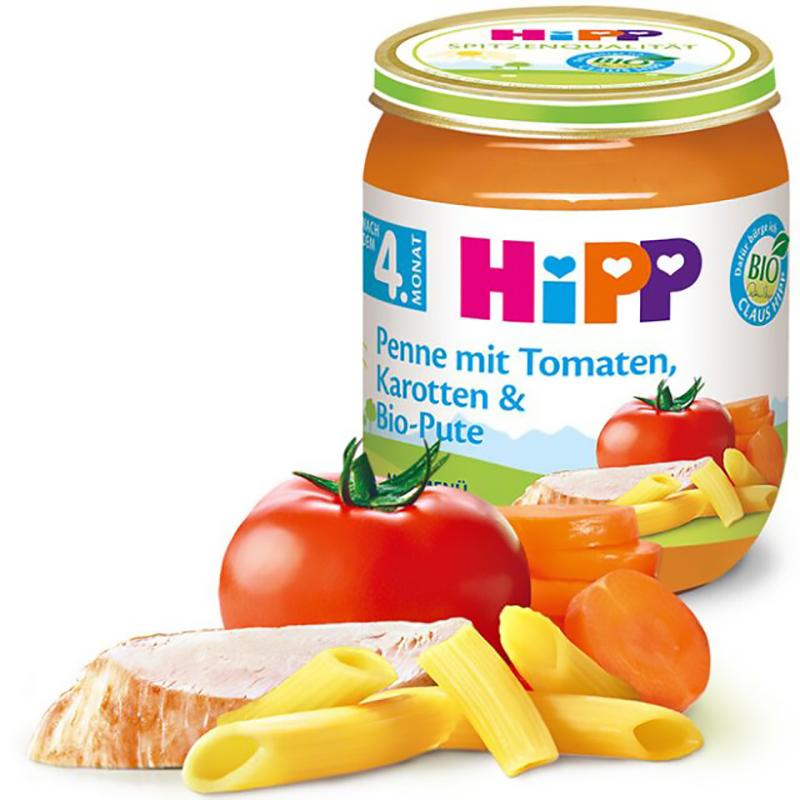 Dinh dưỡng đóng lọ HiPP Bio mì ống, gà tây sốt cà chua, cà rốt 125g 4M (Trên 4 tháng) 6091ET