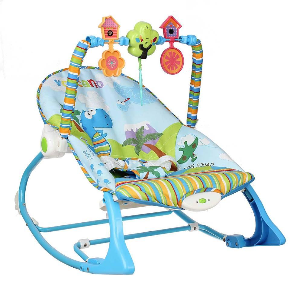 Ghế rung có nhạc và thanh đồ chơi vận động Konig Kids KK63562 - Màu xanh
