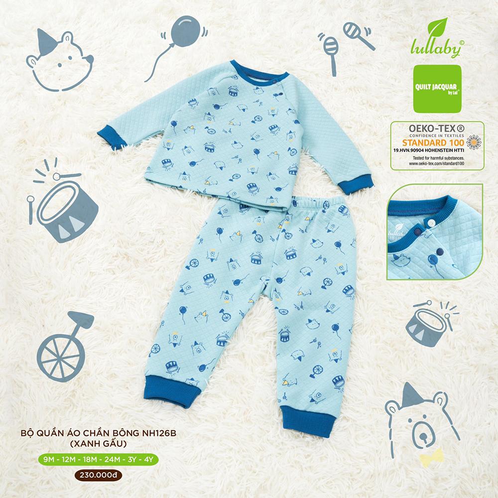 NH126B.3 - Bộ quần áo chần bông Lullaby màu xanh hình gấu