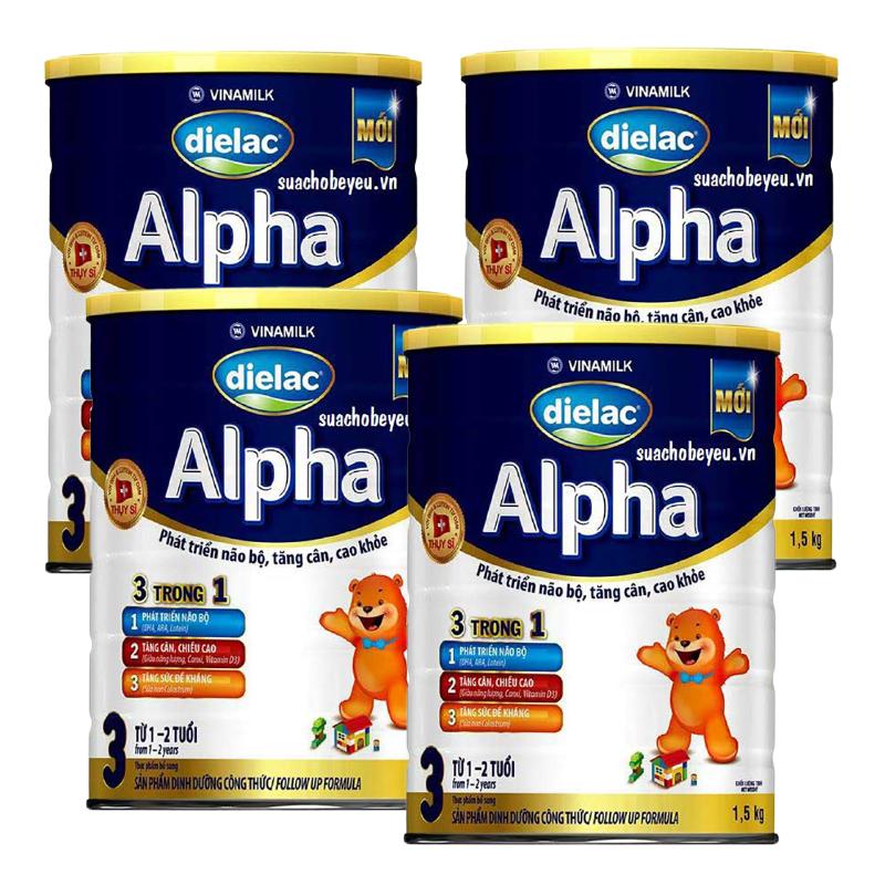 Set 4 lon Sữa bột Vinamilk Dielac Alpha 3 1500g (cho trẻ từ 1 - 2 tuổi)