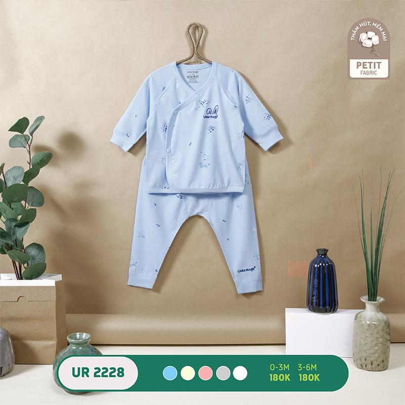 UR2228.2 - Bộ quần áo Uala Rogo cài chéo vải petit - Màu xanh dương