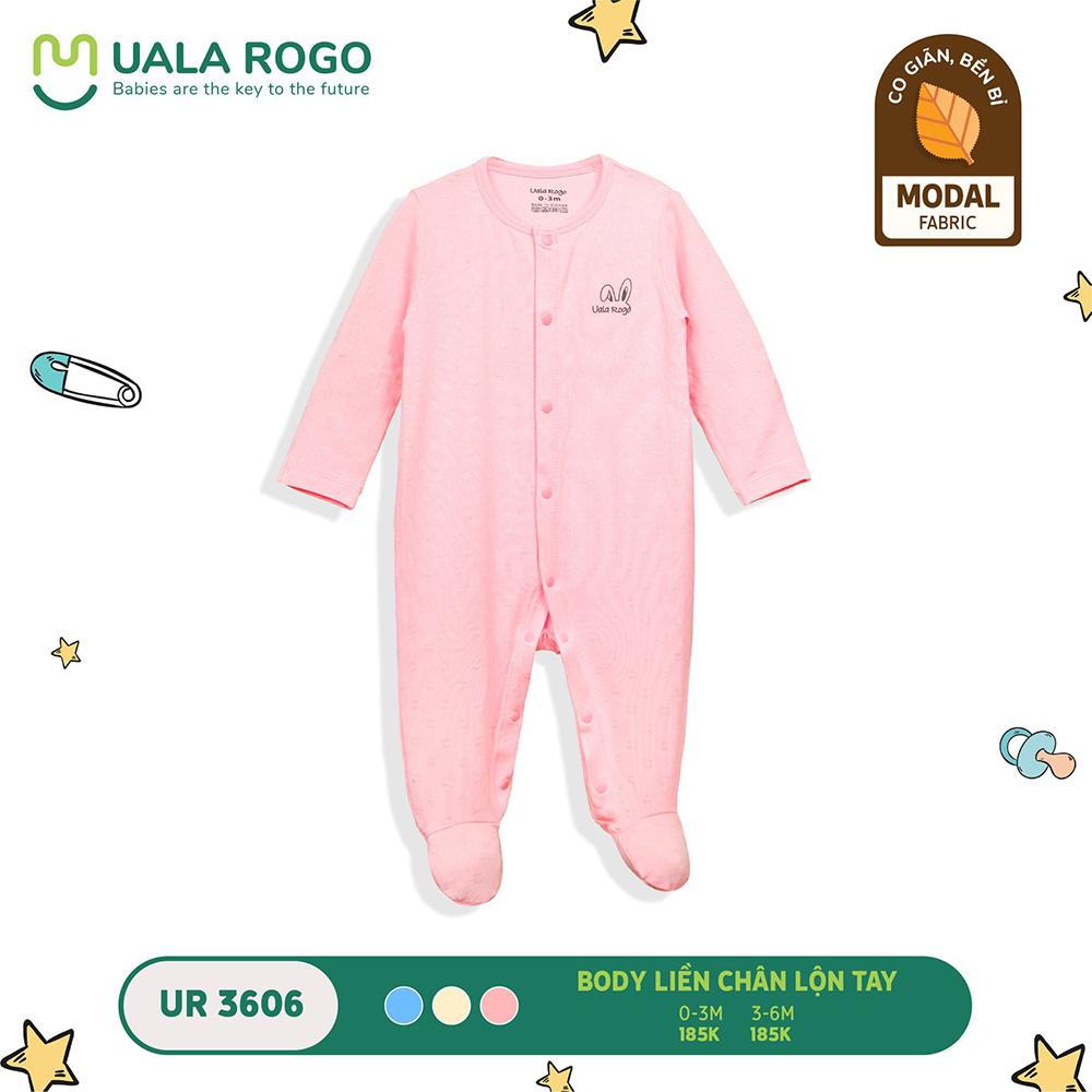 UR3606.1 - Bộ body dài liền chân lộn tay vải sợi sồi Uala Rogo - Màu hồng