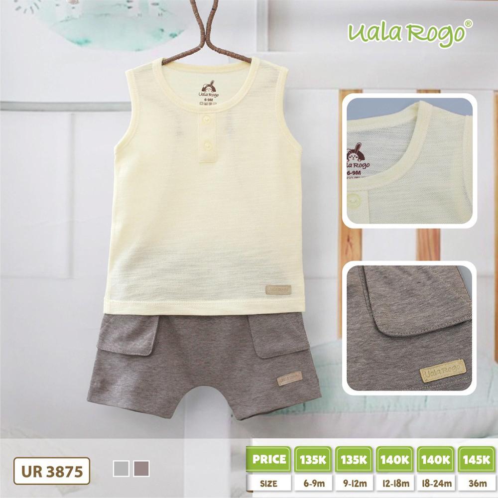 UR3875.2 - Bộ cộc tay cho bé trai Uala Rogo - Màu Vàng & Nâu