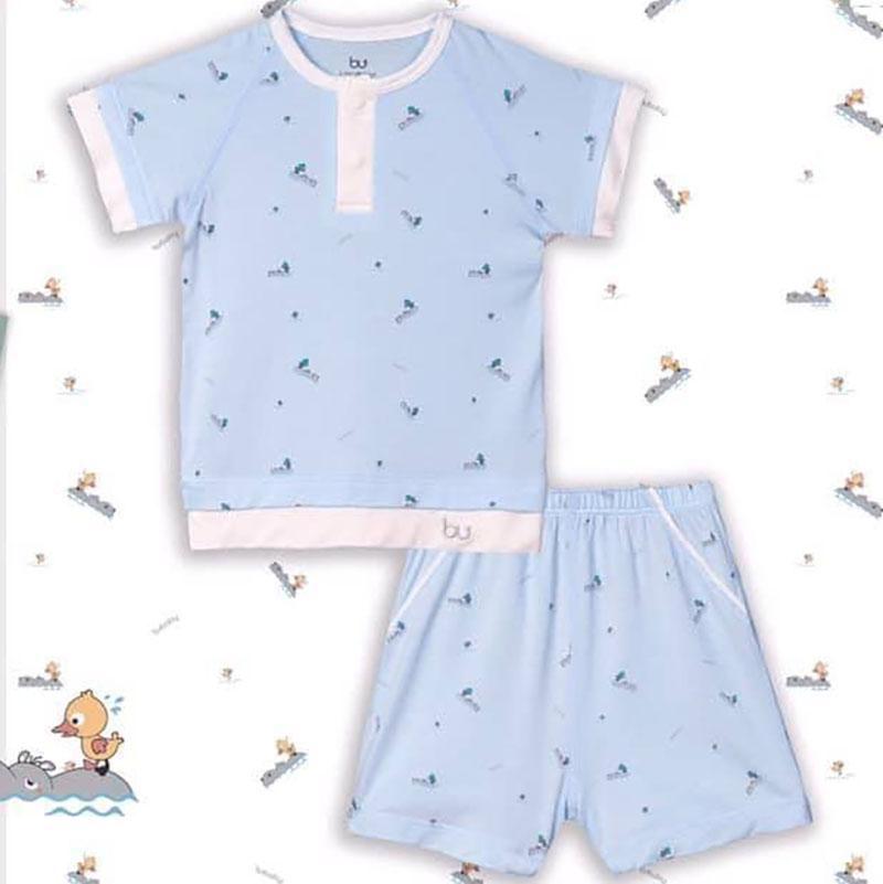 BB032.Blue- Bộ áo cổ trụ  cộc tay  quần đùi - Bu