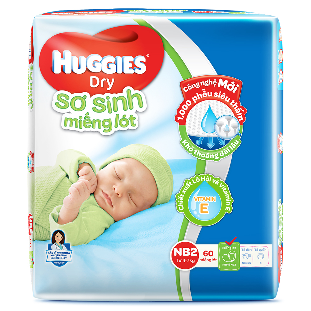 Bỉm - Miếng lót sơ sinh Huggies size NB2 - 60 miếng (Cho trẻ 4 - 7kg)