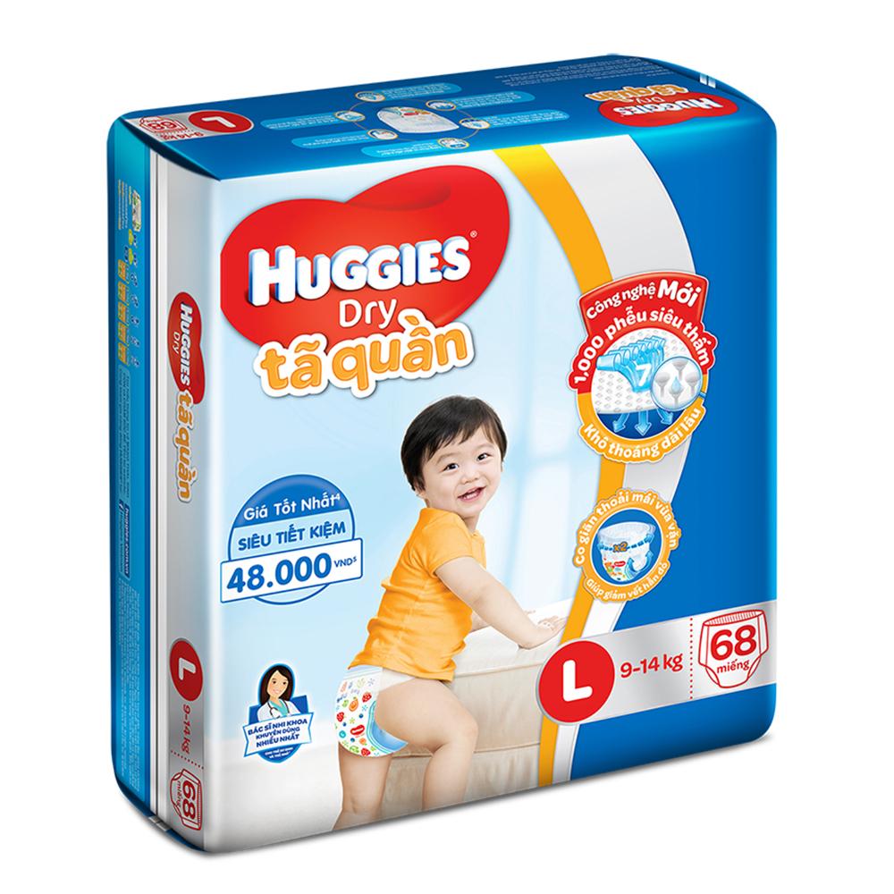 Bỉm - Tã quần Huggies size L - 68 miếng (Cho bé 9 - 14kg)