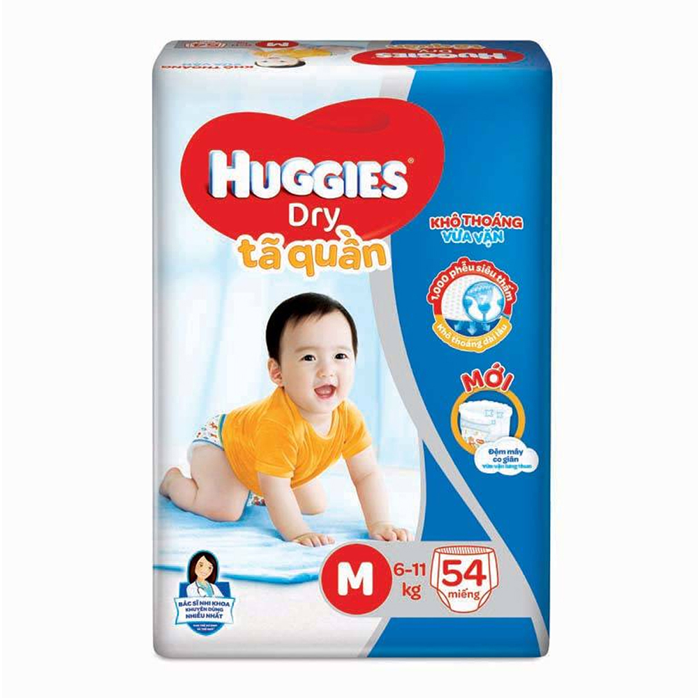 Bỉm - Tã quần Huggies size M - 54 miếng (Cho bé 6 - 11kg)