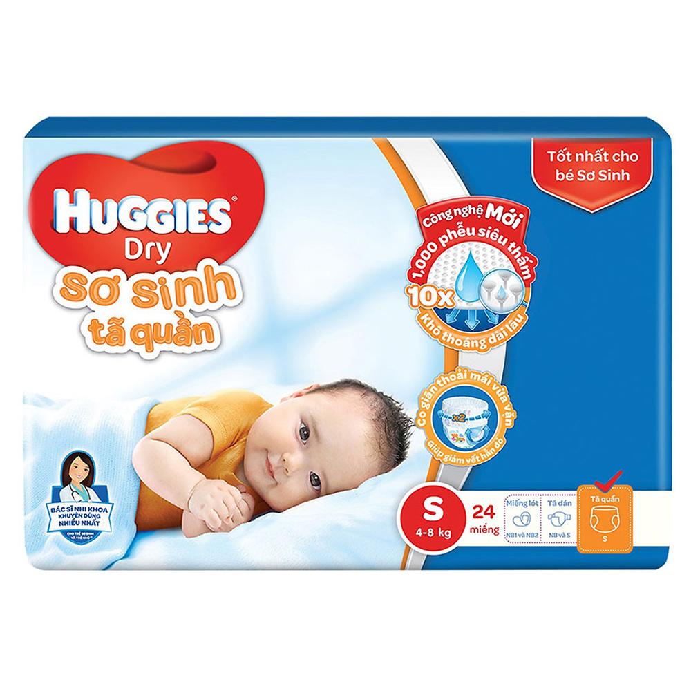 Bỉm - Tã quần sơ sinh Huggies size S - 24 miếng (Cho trẻ 4 - 8kg)