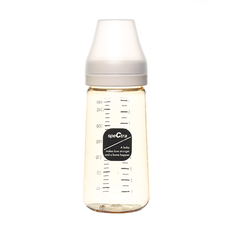 Bình sữa PPSU cổ rộng Spectra 260ml màu vàng