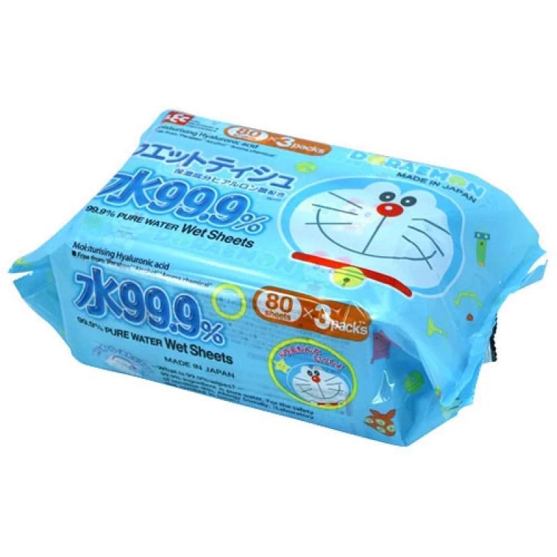 Giấy ướt LEC nước tinh khiết 99,9% Doraemon SS277 80 tờ x 3 gói