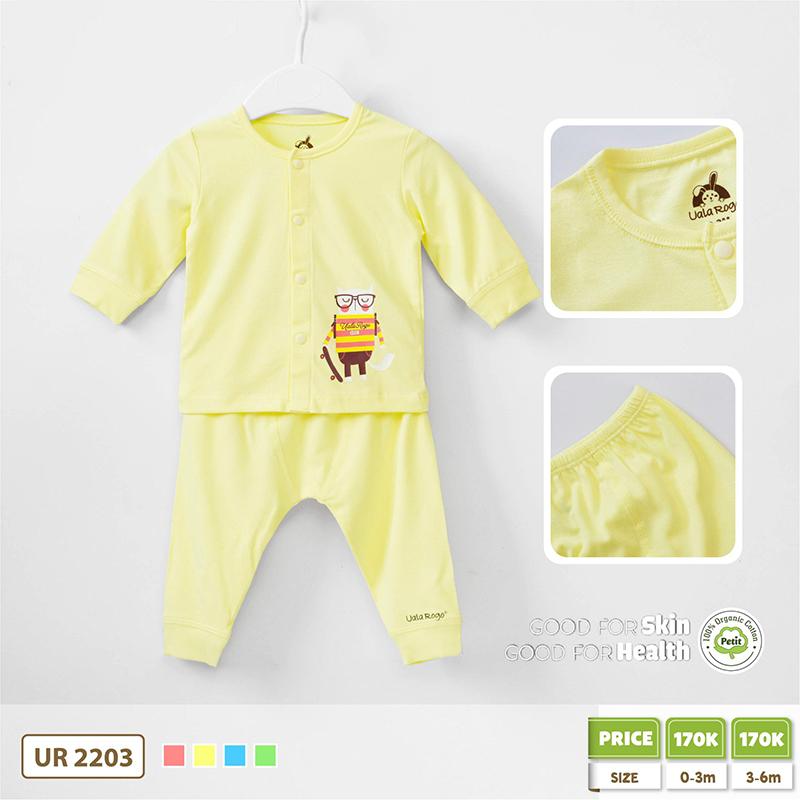 UR2203.3 - Bộ quần áo Uala Rogo cài giữa vải Petit cú mèo - Vàng