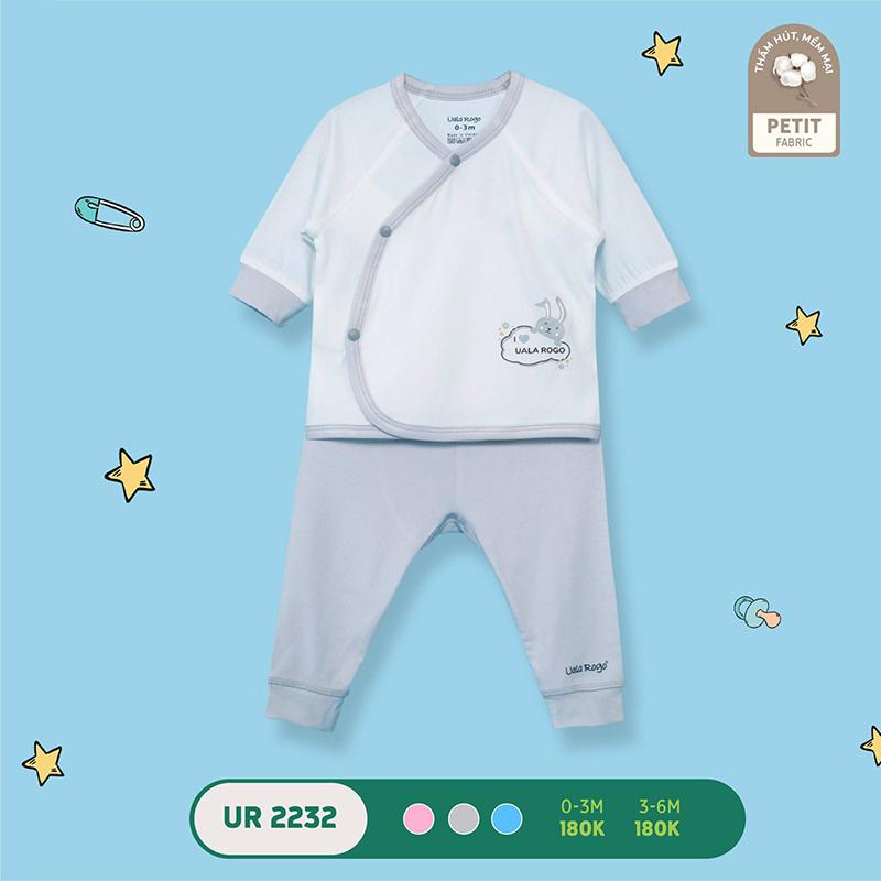 UR2232.2 - Bộ quần áo Uala Rogo cài chéo vải petit - Màu xám