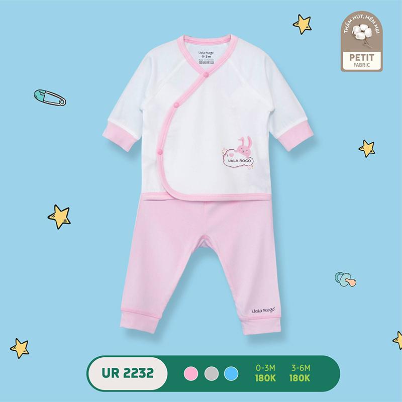 UR2232.3 - Bộ quần áo Uala Rogo cài chéo vải petit - Màu hồng