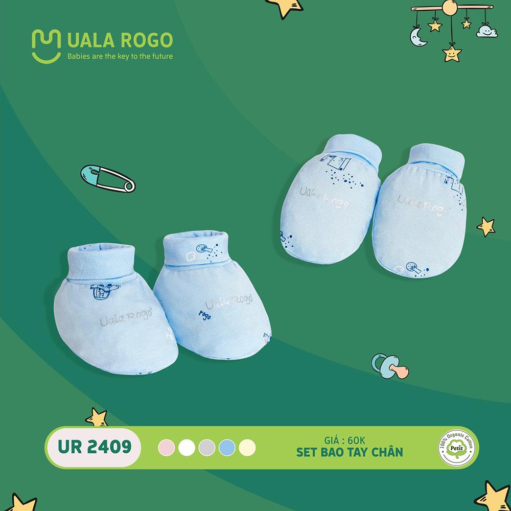UR2409.2 - Set bao tay bao chân sơ sinh vải petit Uala Rogo - Màu xanh
