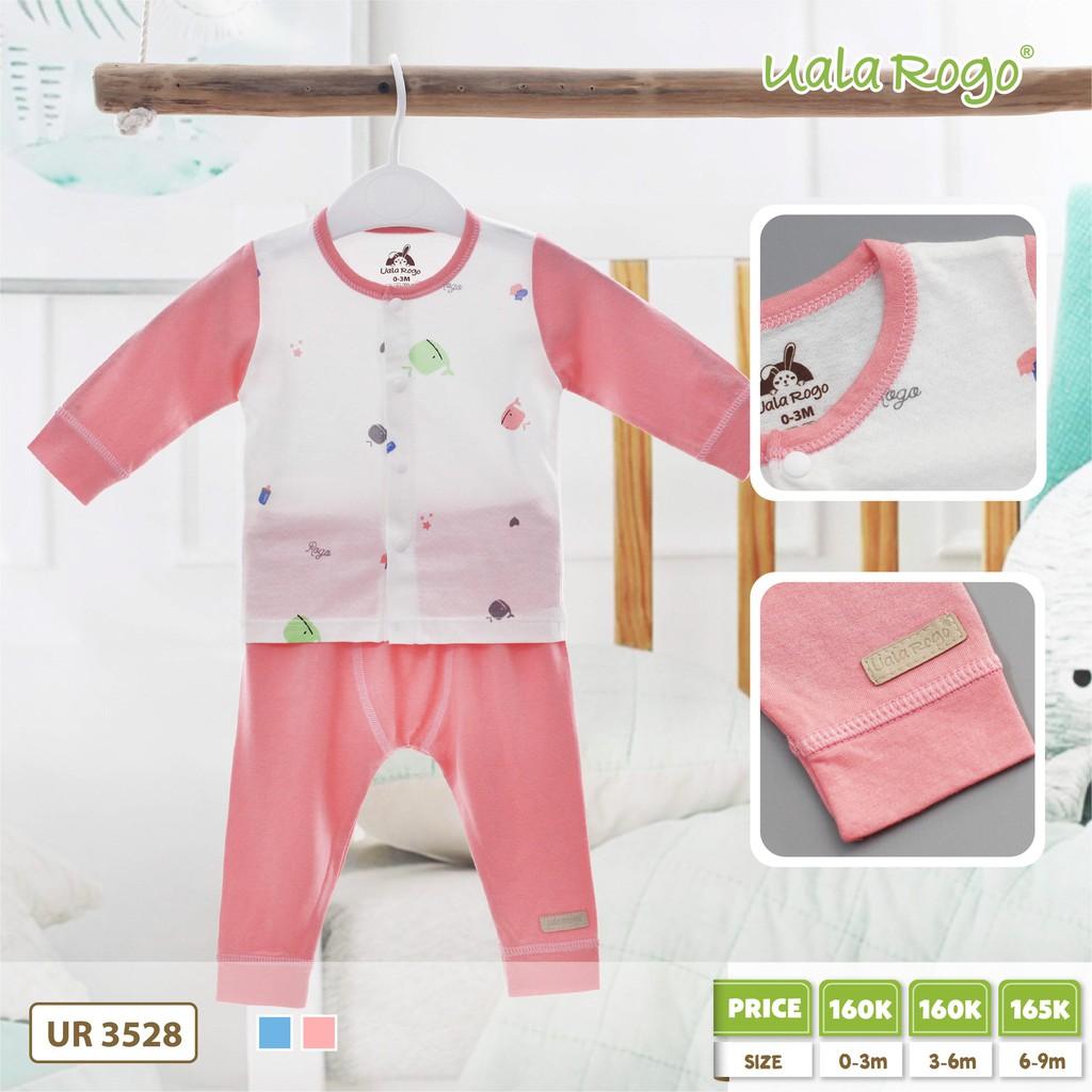 UR3528.2 - Set dài tay cài nút giữa cho bé - Màu hồng