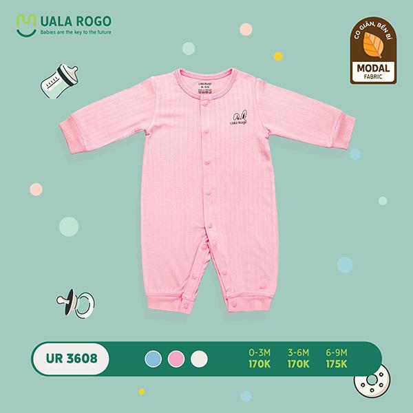 UR3608.2 - Bộ body dài trơn vải sợi sồi Uala Rogo - Màu hồng