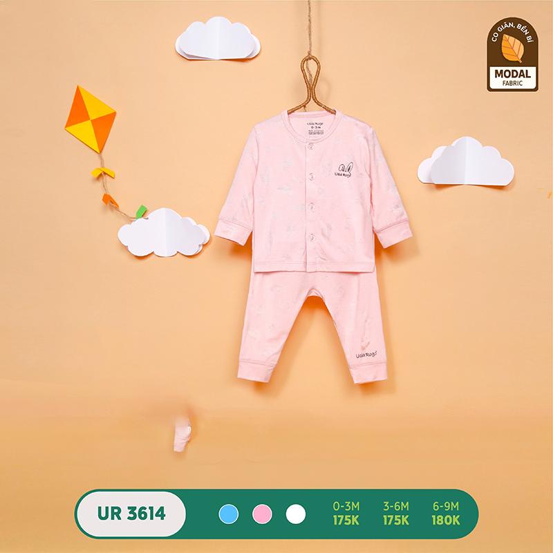 UR3614.2 - Bộ quần áo Uala Rogo dài tay cài giữa vải sợi sồi - Màu hồng