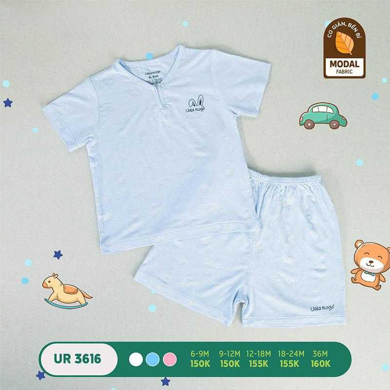 UR3616.1 - Bộ quần áo Uala Rogo cộc tay vải sợi sồi - Màu xanh
