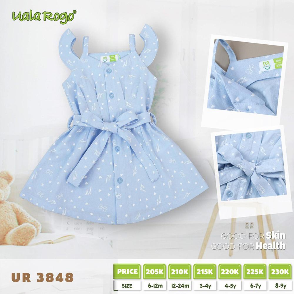 UR3848.2 - Đầm hoạ tiết cho bé gái Uala Rogo - Màu xanh