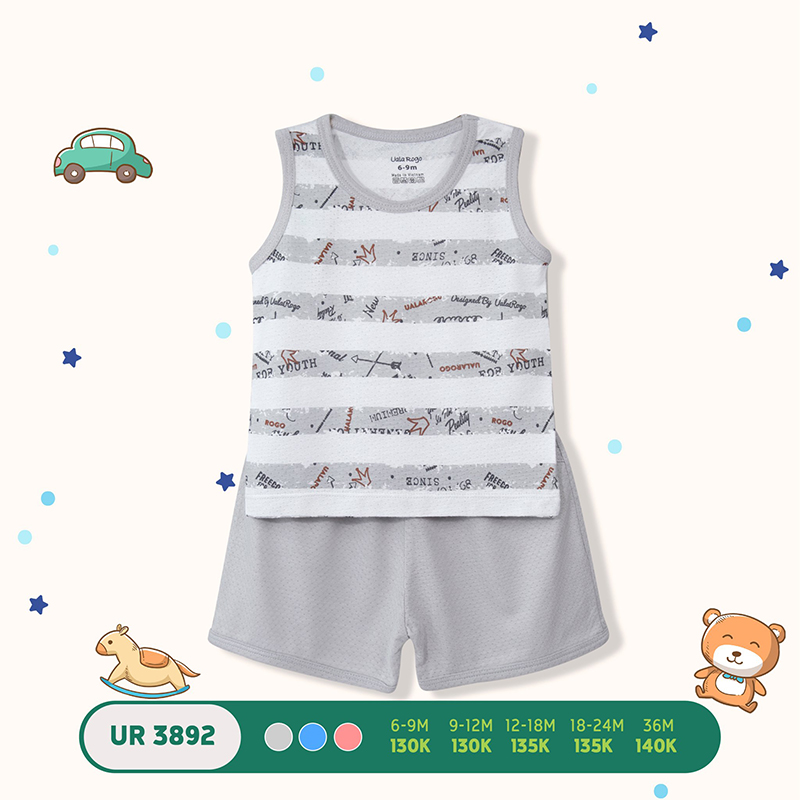 UR3892.3 - Bộ quần áo ba lỗ Uala Rogo vải petit - Màu xám