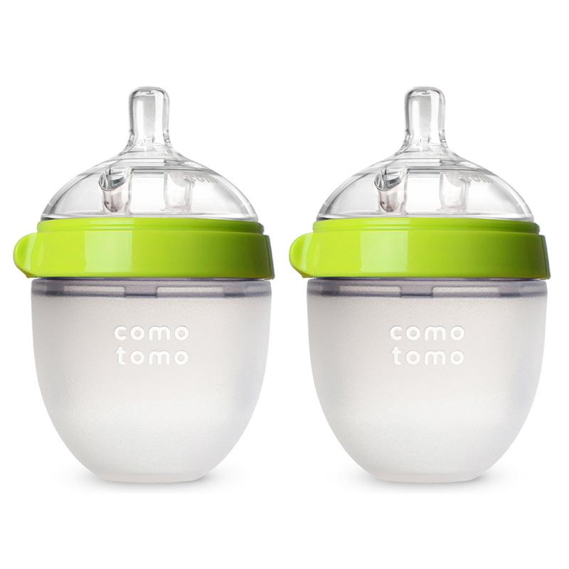 Bộ hai bình silicone Comotomo 150ml - Xanh