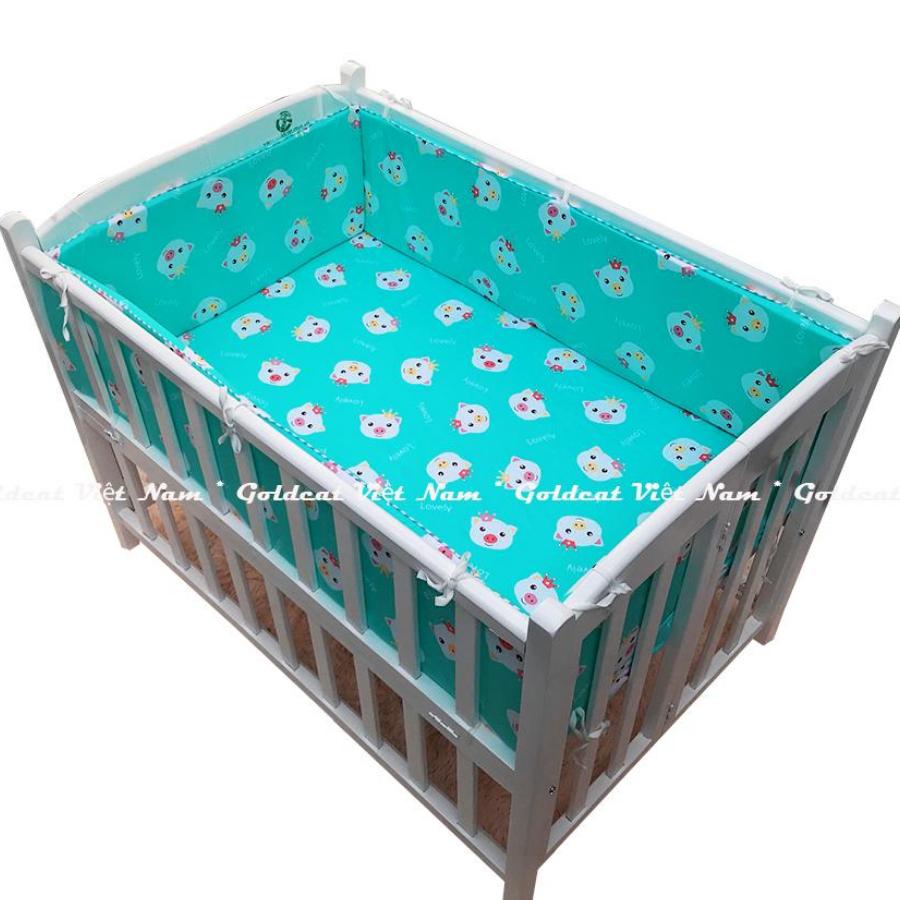Bộ quây cũi và ga vải bọc đệm cho bé (62x100, Heo Xanh)