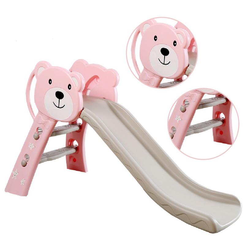 Cầu trượt cho bé Toyshouse hình gấu HT04 - Kích thước 133*41*75cm - Màu hồng